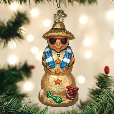 Old World Christmas Glass Ornament - Sand Snowman