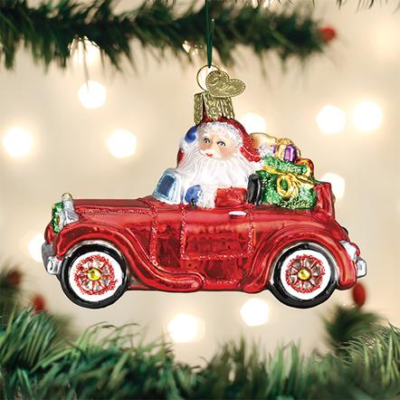 Old World Christmas Glass Ornament - Santa in Antique Car