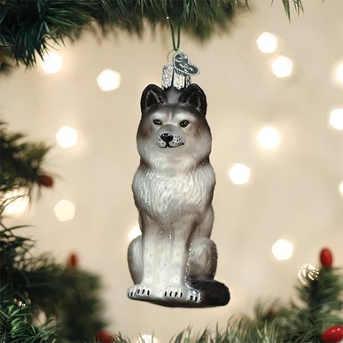 Old World Christmas Ornament - Sitting Wolf