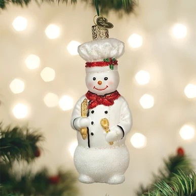 Old World Christmas Glass Ornament - Snowman Chef