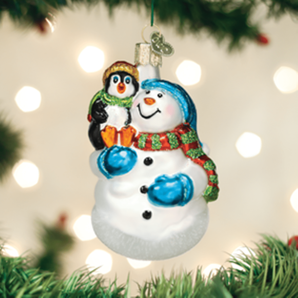 Old World Christmas Ornament - Snowman with Penguin Pal