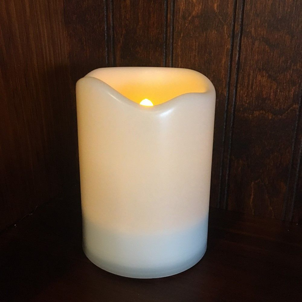Outdoor Flameless Pillar Candle - Solar Power LED - 4in x 3in
