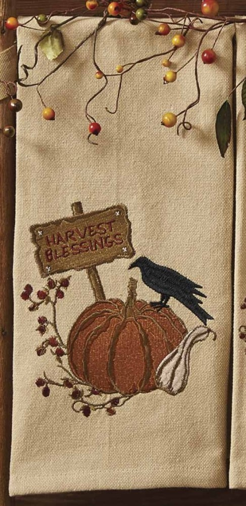 Park Designs Dish Towel - Harvest Blessings - Crow/Pumpkin