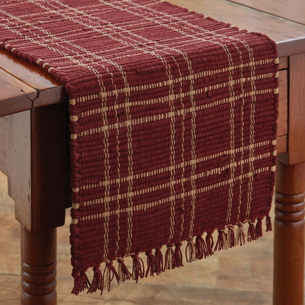 Park Designs Runner - Sturbridge Wine Chindi - 13in x 36in
