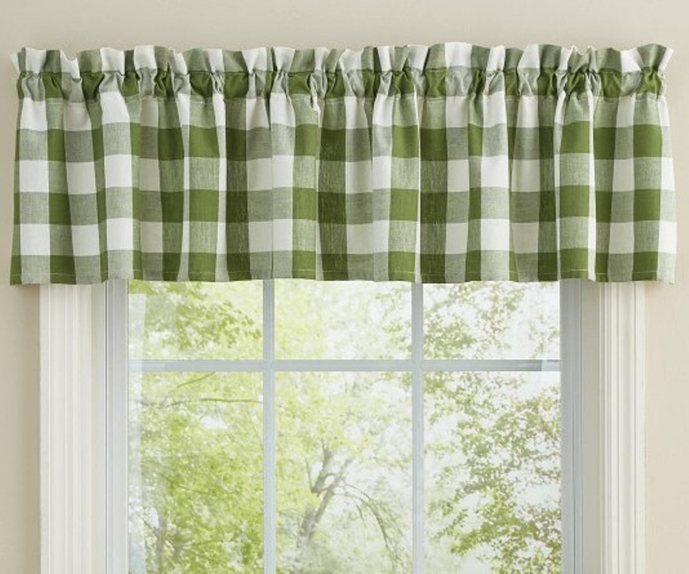 Park Designs Valance - Wicklow Check Sage - Unlined - 72in x 14in