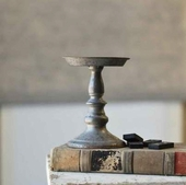 Pillar Candle Holder - Pewter Look - 7 Inch