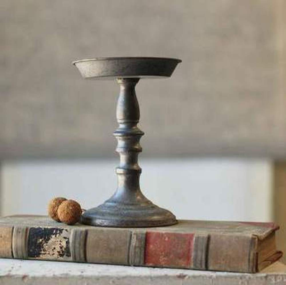 Pillar Candle Holder - Pewter Look - 9 Inch