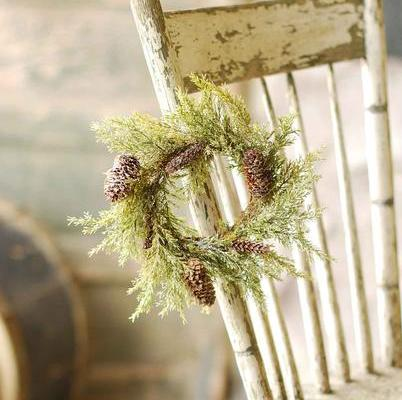 Pine Candle Ring - Prickly Pine with Snow - 3.5in