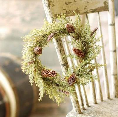 Pine Candle Ring - Prickly Pine with Snow - 6.5in