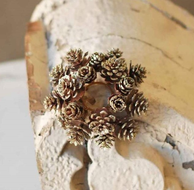 Pine Cone Candle Ring - Shimmer Gold Pine Cone - 1in