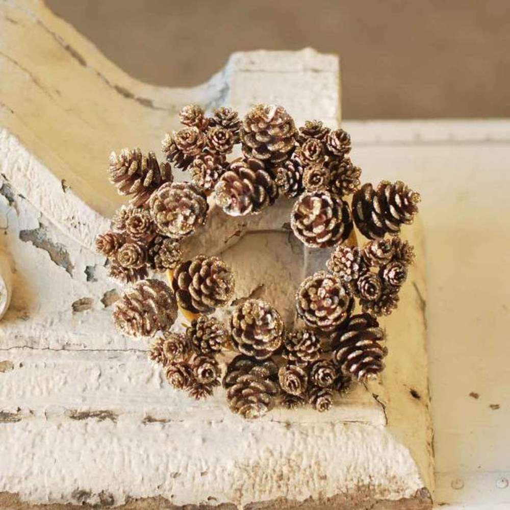 Pine Cone Candle Ring - Shimmer Gold Pine Cone - 4 Inch