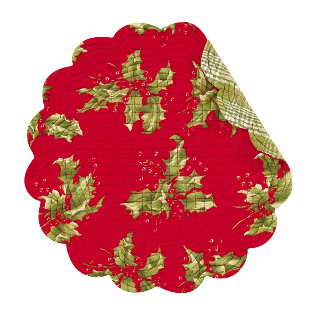 Round Quilted Placemat - Red Holly - Washable/Reversible - 17in
