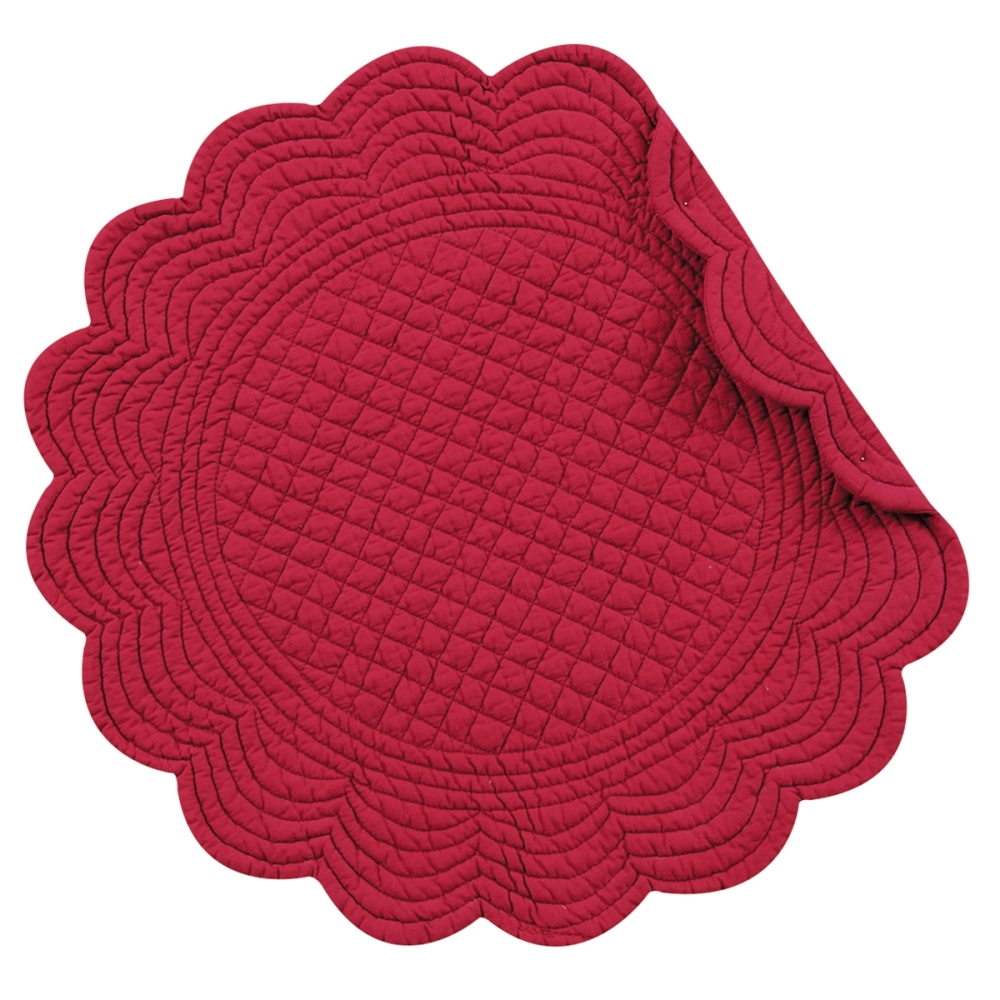 Round Quilted Placemat - Burgundy - Washable/Reversible - 17in