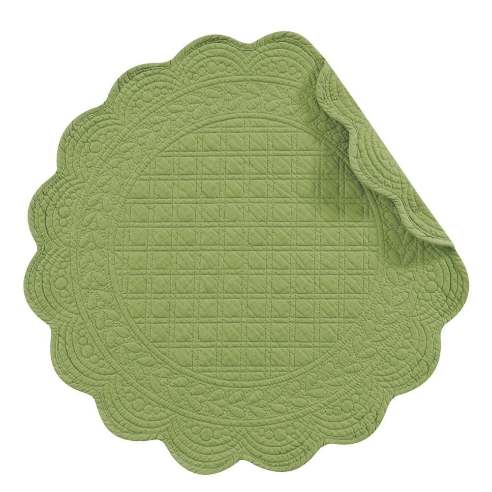 Round Quilted Placemat - Green Apple - Washable/Reversible - 17in