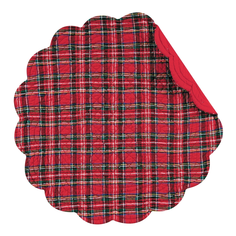 Round Quilted Placemat - Red Plaid - Washable/Reversible - 17in