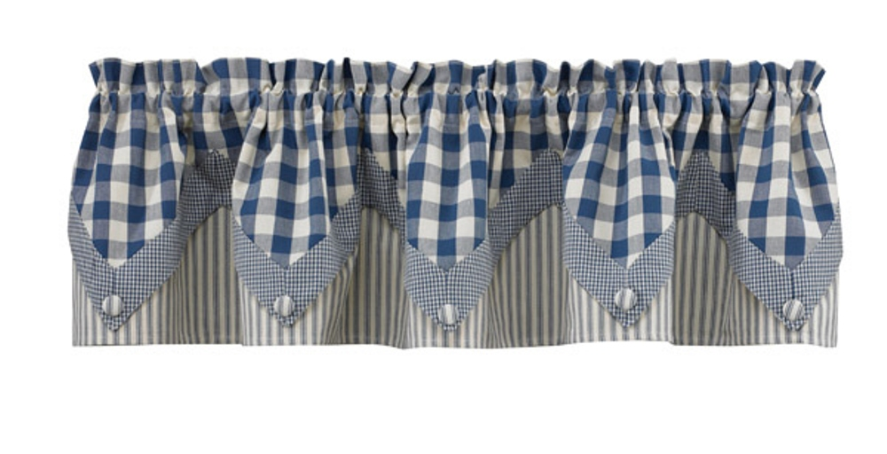 Lined Point Window Valance - York Blue - 72in x 15in