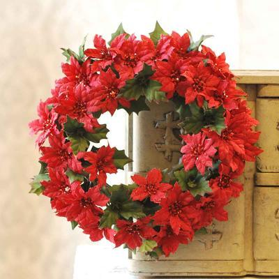 Poinsettia Candle Ring - Mini Red Poinsettia - 6 Inch