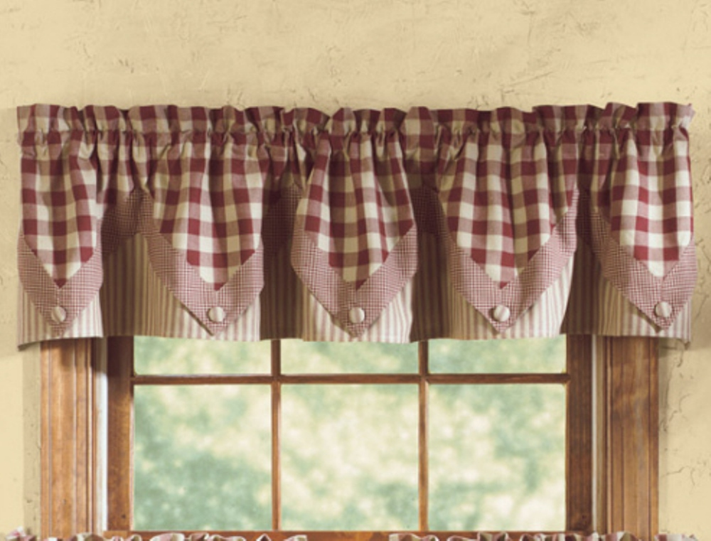 Lined Point Window Valance - York Wine - 72in x 15in
