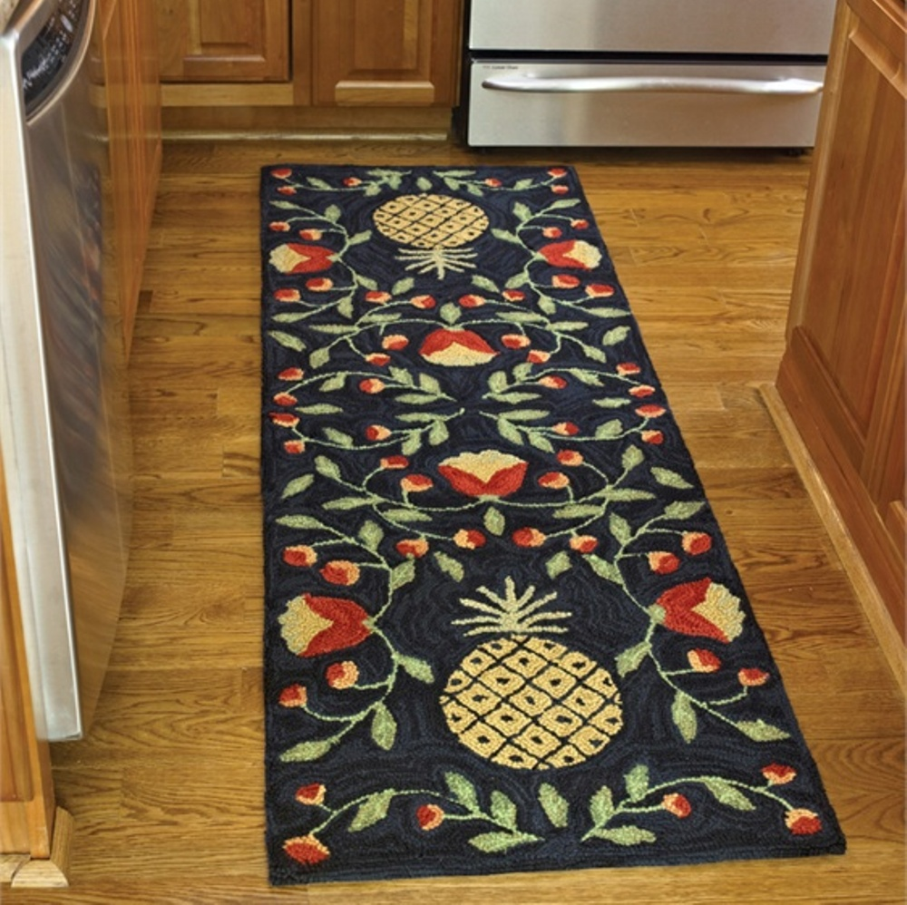 Poly Hooked Rug Runner  - Pineapple - 24in x 72in