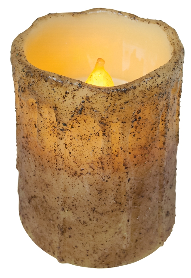 Primitive Battery-Operated Pillar Candle with Timer - Burnt Ivory - 4in x 3in