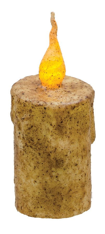 Primitive Battery-Operated Pillar Candle with Timer - Burnt Ivory - 5in x 2.5in