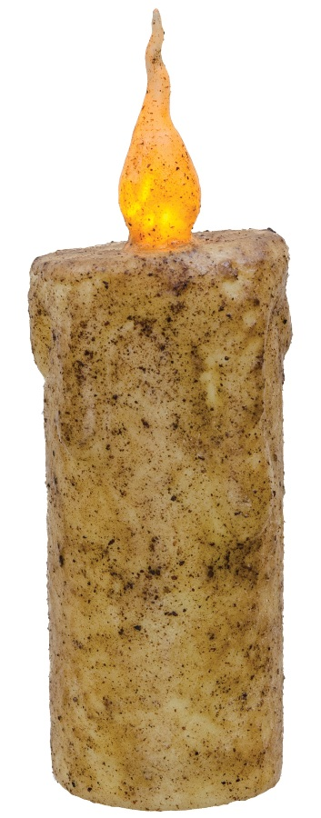 Primitive Battery-Operated Pillar Candle with Timer - Burnt Ivory - 6.5in x 2.5in