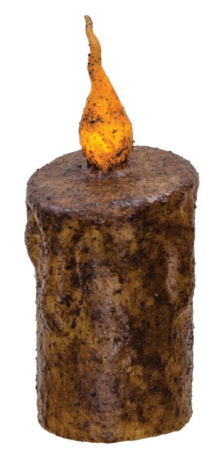 Primitive Battery-Operated Pillar Candle with Timer - Burnt Mustard - 5in x 2.5in