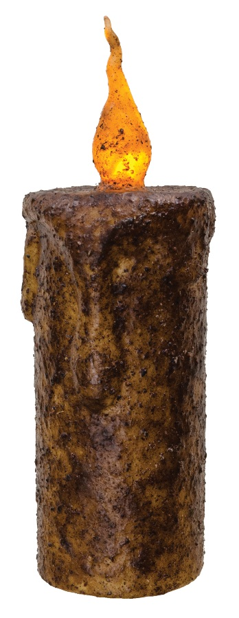 Primitive Battery-Operated Pillar Candle with Timer - Burnt Mustard - 6.5in x 2.5in