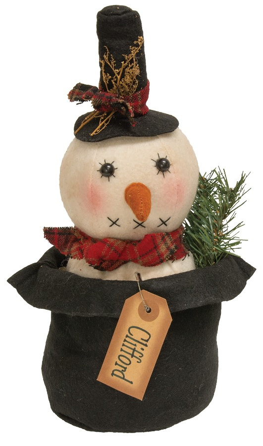 Primitive Plush Figurine - Clifford Snowman - 11in