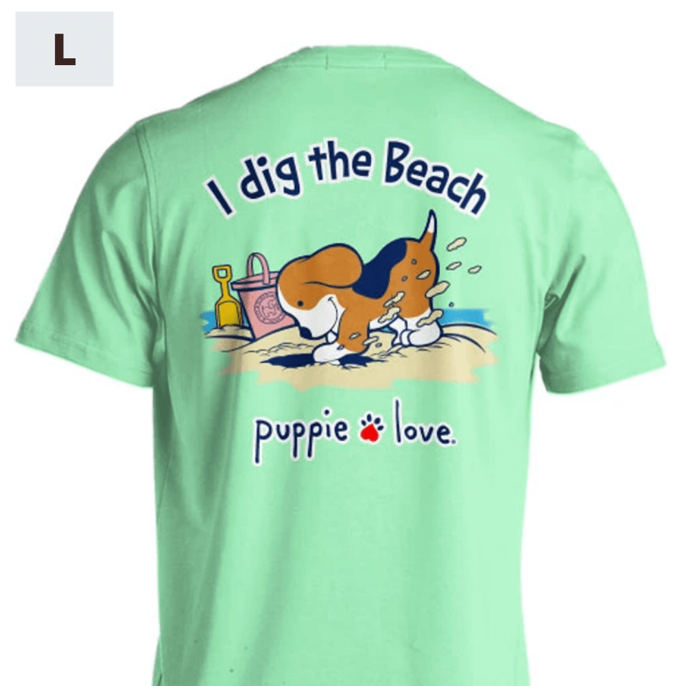Puppie Love Shirt - I Dig The Beach Pup - L