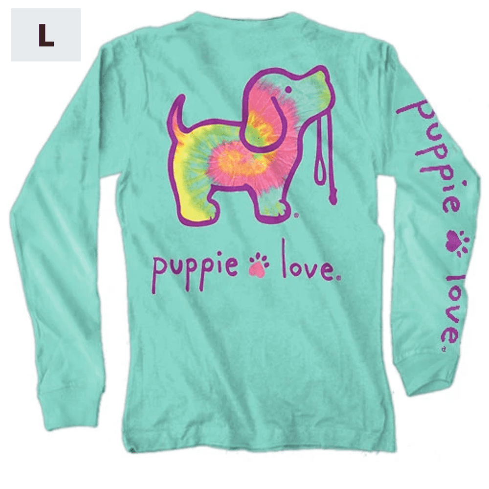 Puppie Love Shirt - Long Sleeve - Minty Rainbow - L
