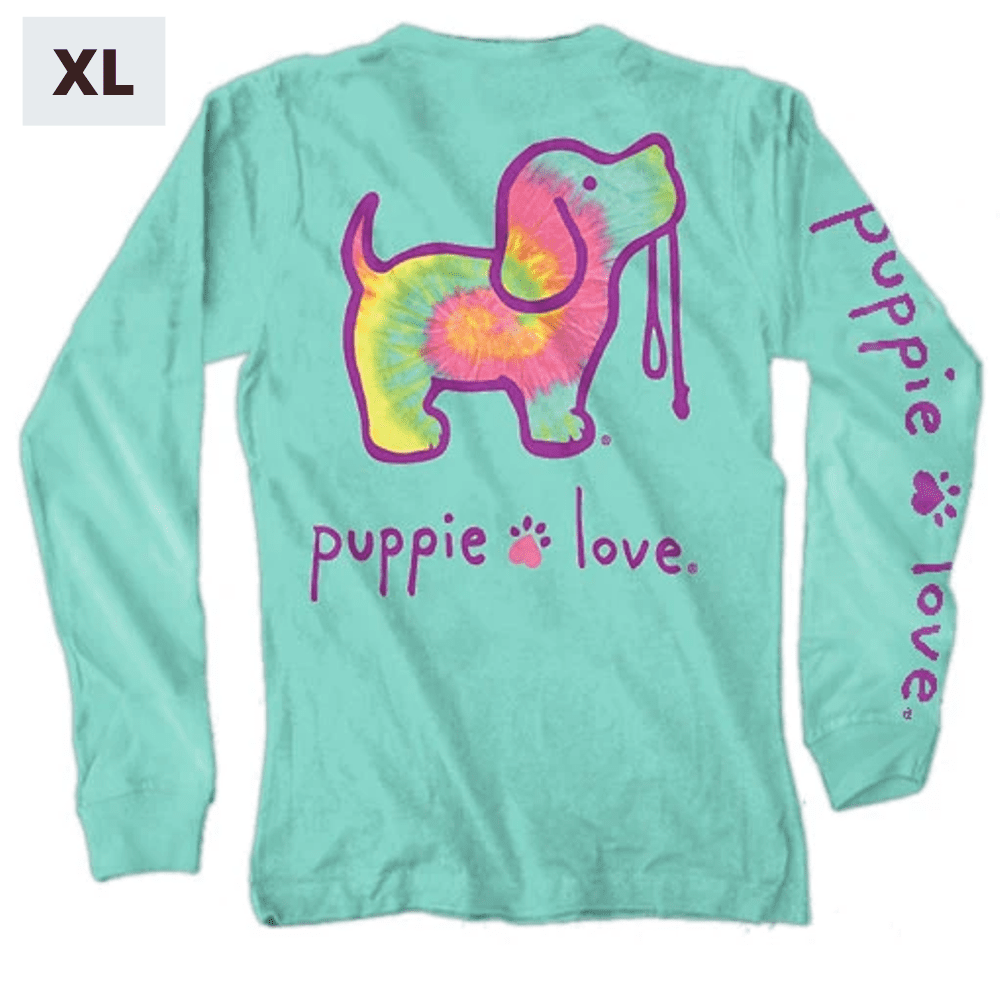 Puppie Love Shirt - Long Sleeve - Minty Rainbow - XL