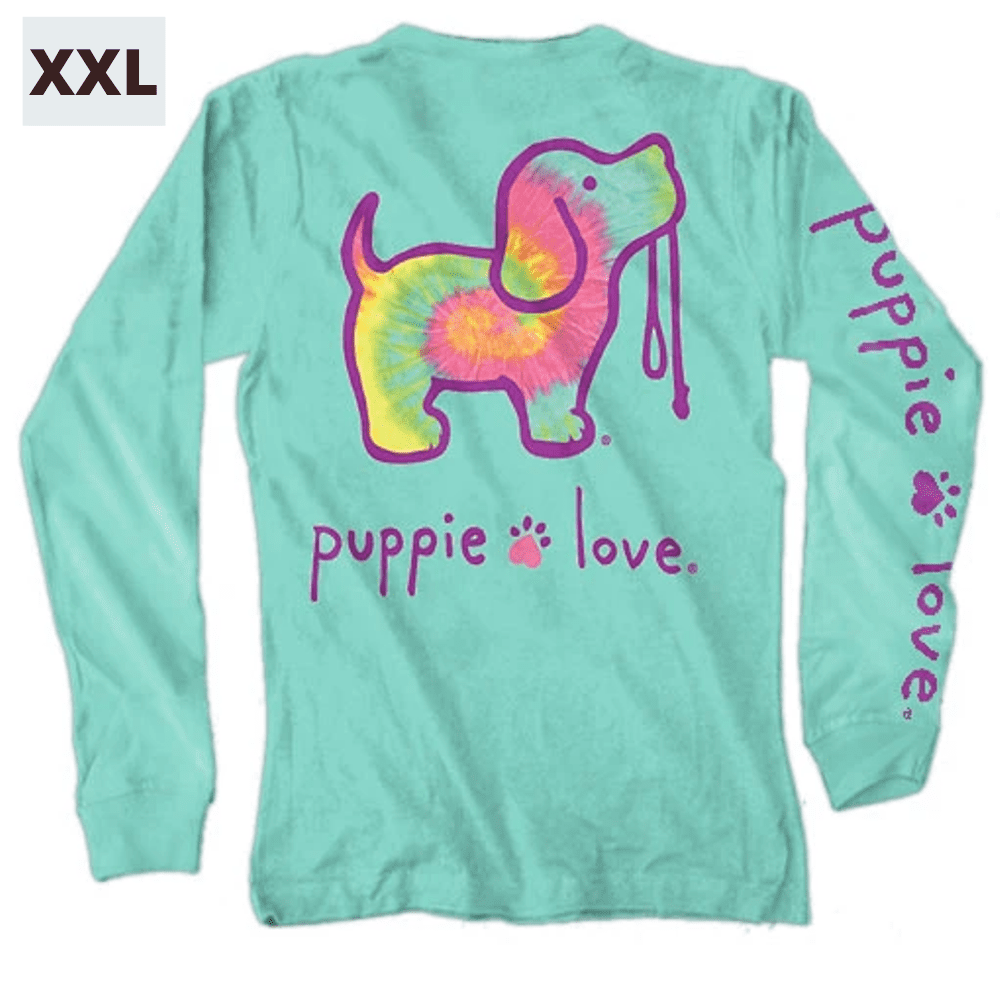 Puppie Love Shirt - Long Sleeve - Minty Rainbow - XXL