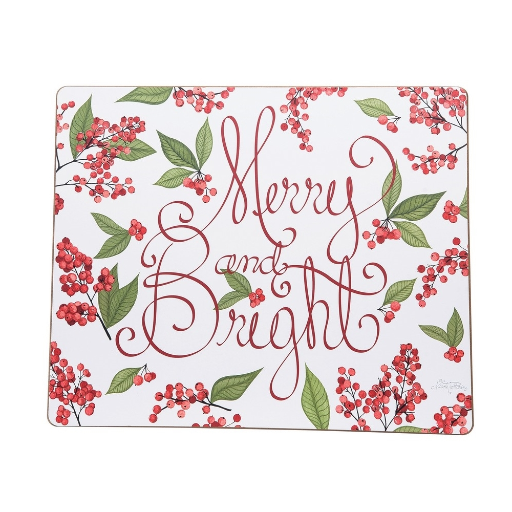 Rectangular Hardboard Placemat - Merry and Bright - 16in x 13in