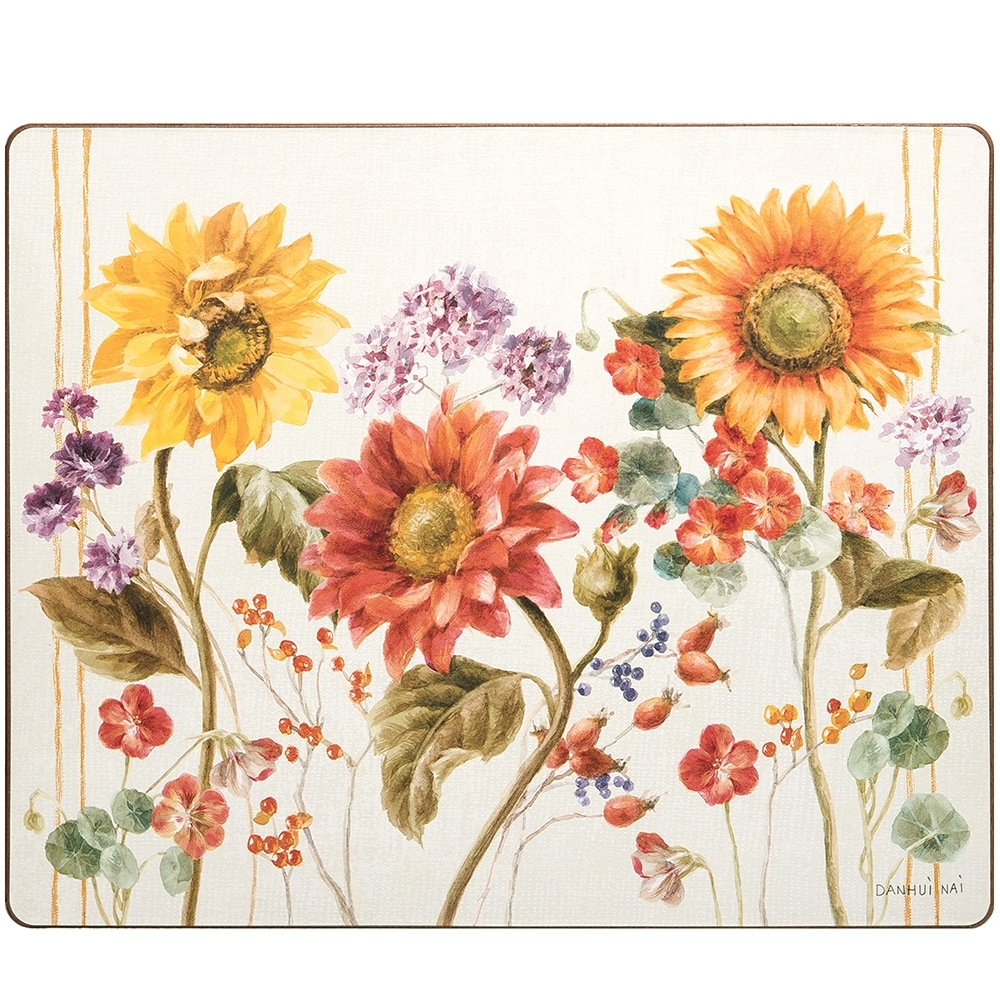 Rectangular Hardboard Placemat - Sunflower Patch - 19in x 13in