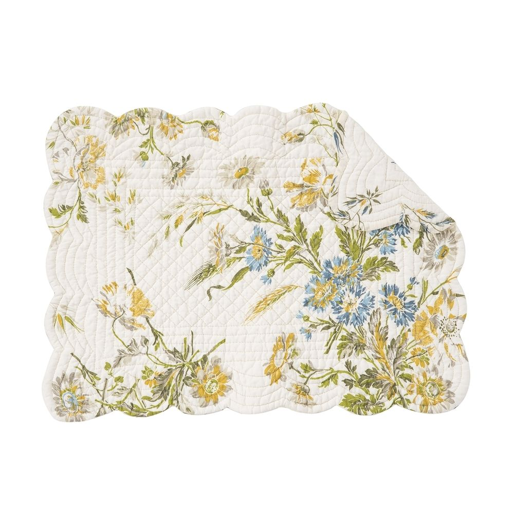 Rectangular Placemat - Wildflower - Quilted/Washable/Reversible - 19in x 13in