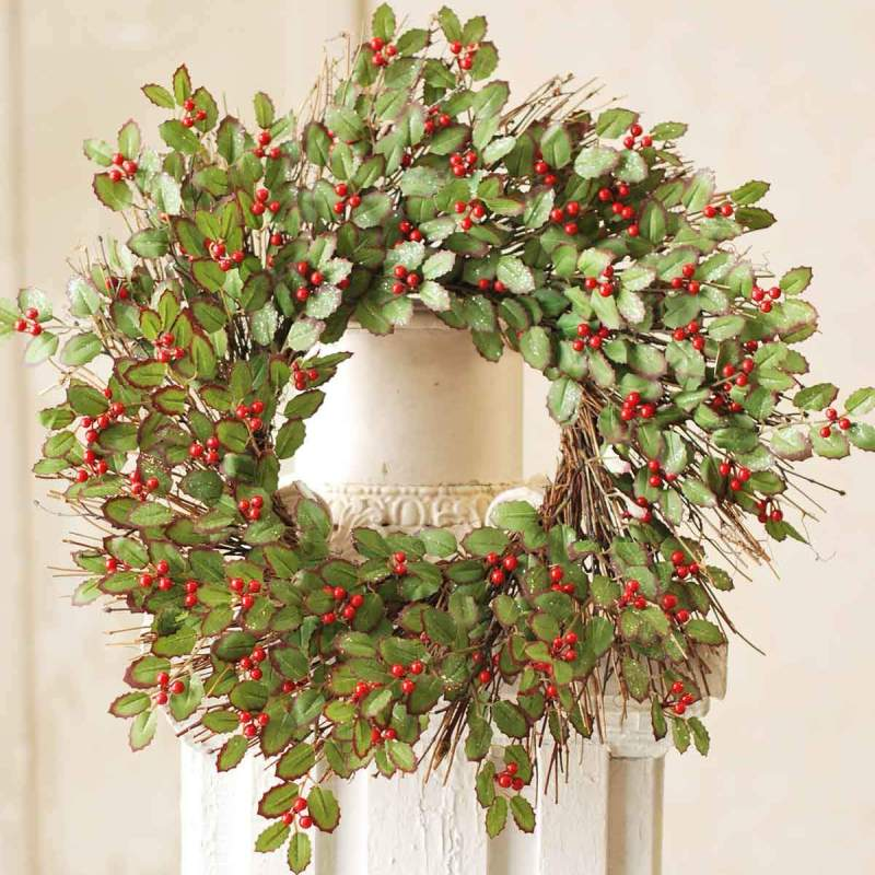 red berry and holly wreath 20in - Artificial Christmas Wreaths Decorated