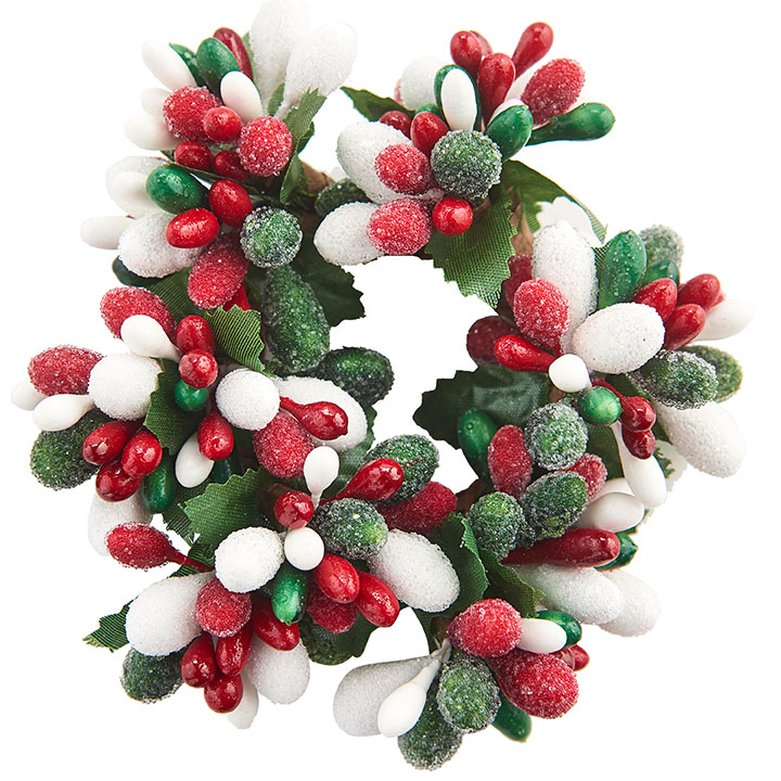 Red/White/Green Frost Candle Ring - 1in