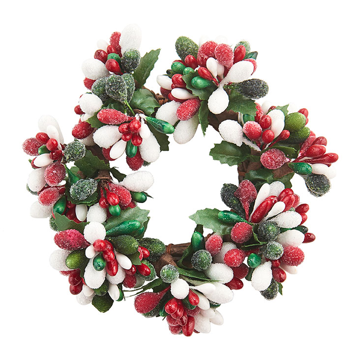 Red/White/Green Frost Candle Ring - 2in