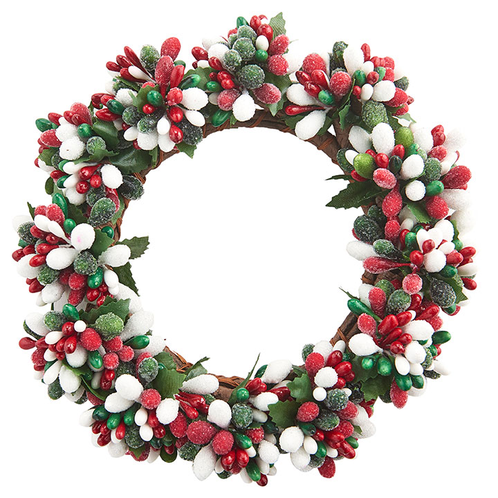 Red/White/Green Frost Candle Ring - 3.75in