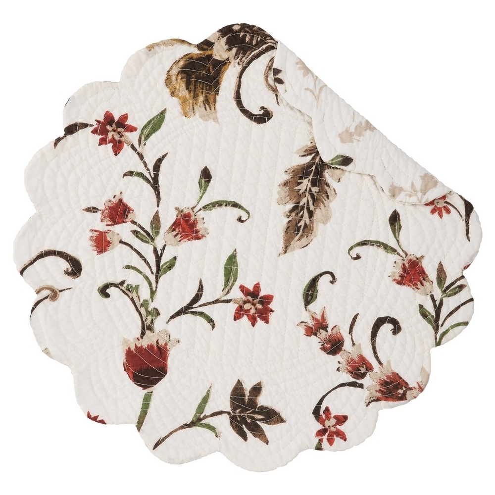 Round Quilted Placemat - Autumn Bloom - Washable/Reversible - 17in