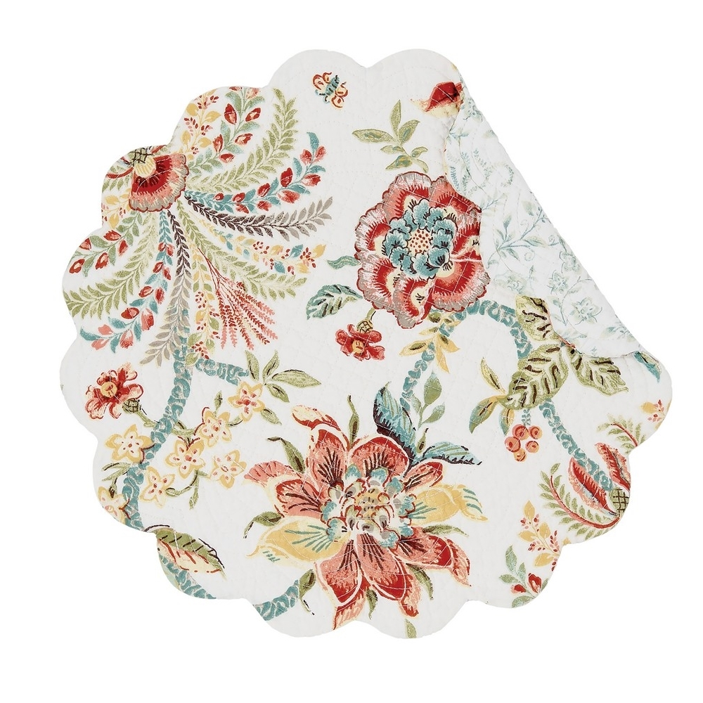 Round Quilted Placemat - Braganza - Washable/Reversible - 17in