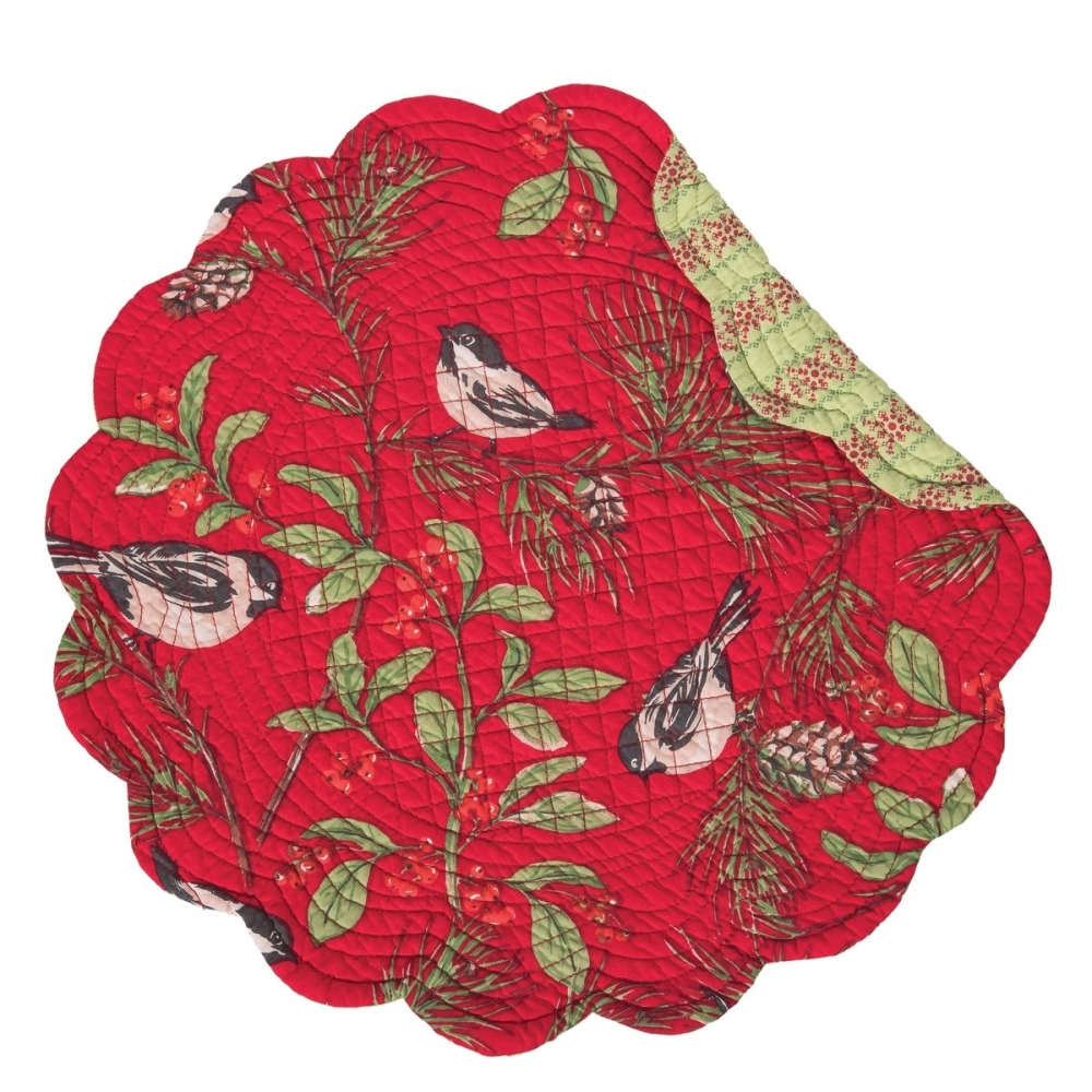 Round Quilted Placemat - Chickadee Red - Washable/Reversible - 17in