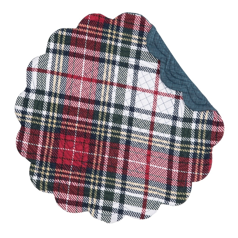 Round Quilted Placemat - Lennox Plaid - Washable/Reversible - 17in