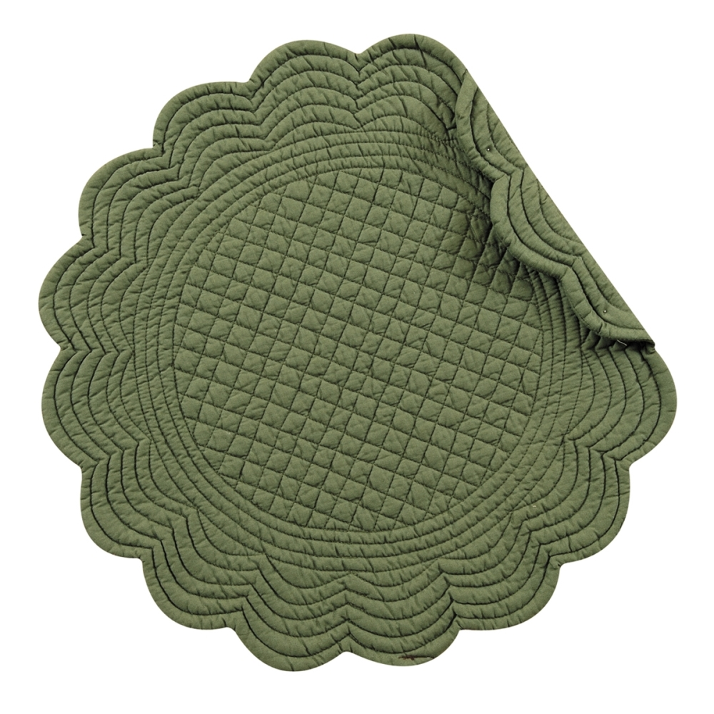 Round Quilted Placemat - Pine - Washable/Reversible - 17in