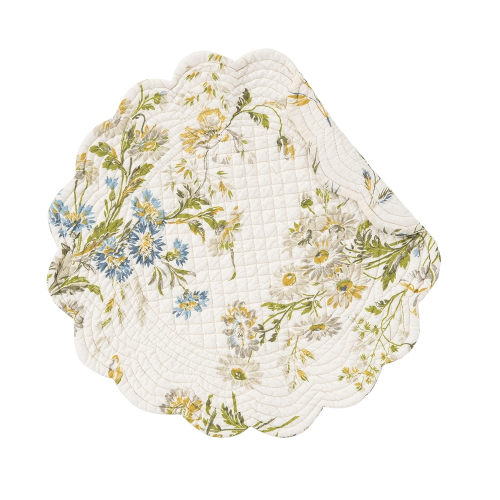 Round Quilted Placemat - Wildflower - Washable/Reversible - 17in