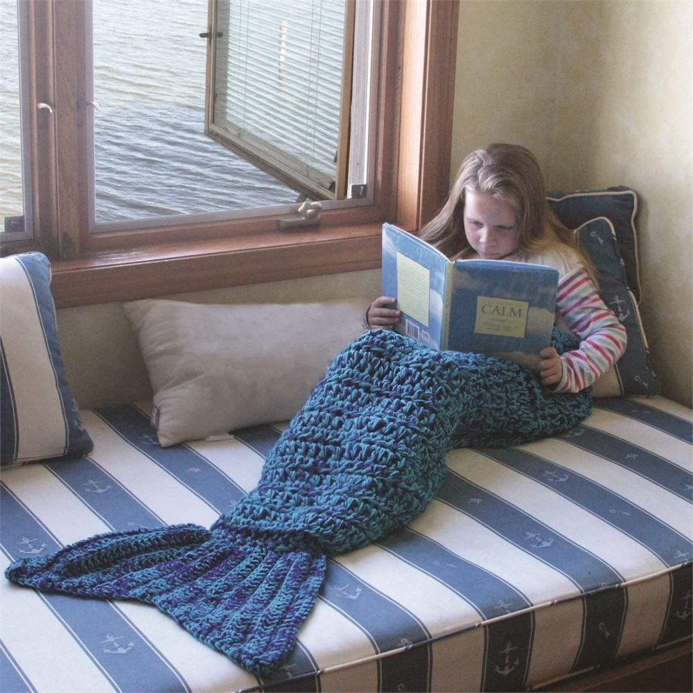 Crochet Mermaid Tail Blanket - Blue - 56in
