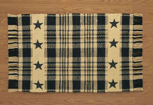 Cotton Rag Rug - Millbury with Stars - 24in x 42in