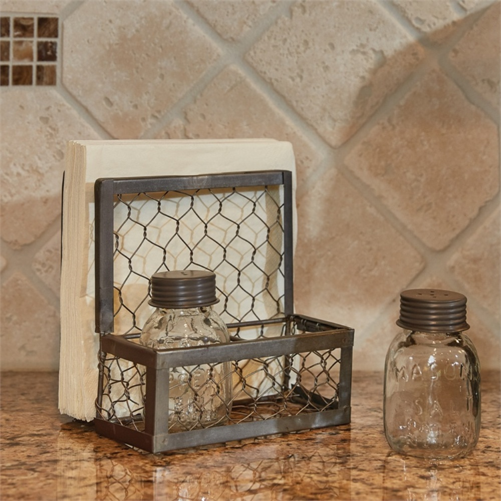 Park Designs Salt, Pepper & Napkin Holder - Chicken Wire - 6in