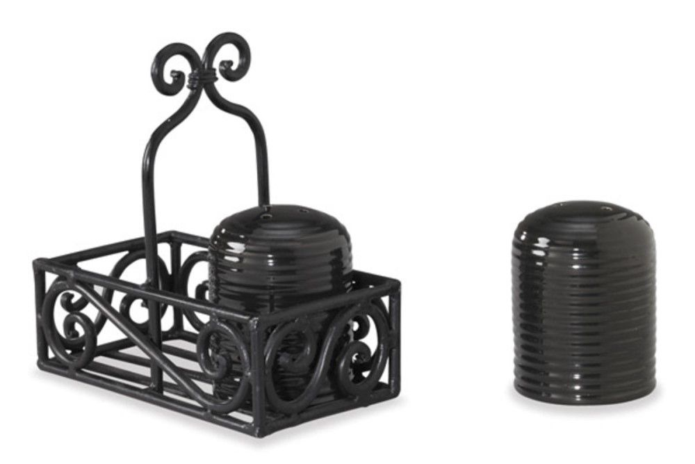 Park Designs Salt & Pepper Shaker Black Iron Caddy